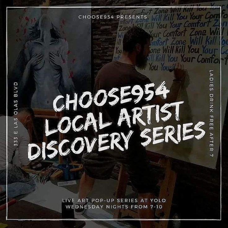 "Coming off the heels of the last Art Fort Lauderdale series at YOLO and In an effort to continue furthering the Arts & Culture locally here in Fort Lauderdale Choose954 is partnering again with YOLO Restaurant to create The #Choose954 Local Artist Discovery Series - A Live Art Pop-Up @ YOLO.  Local artists will be painting 6""x6"" pieces live on Wednesday Evenings during YOLO's Ladies Nights (Ladies drink free after 7) giving the crowd and attendees an opportunity to discover some of our most…"