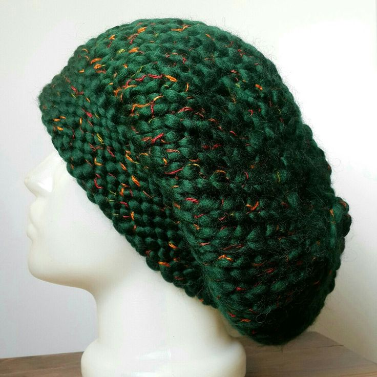 Excited to share the latest addition to my #etsy shop: Slouchy Beanie Hat, Dark Green,Green Mealy Beanie Hat http://etsy.me/2CUwVyj