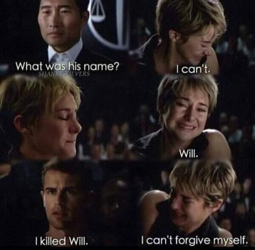 I was crying at this part. Mostly because I was still crying whe Four said he didn't leave Dauntless because he fell in love with Tris.