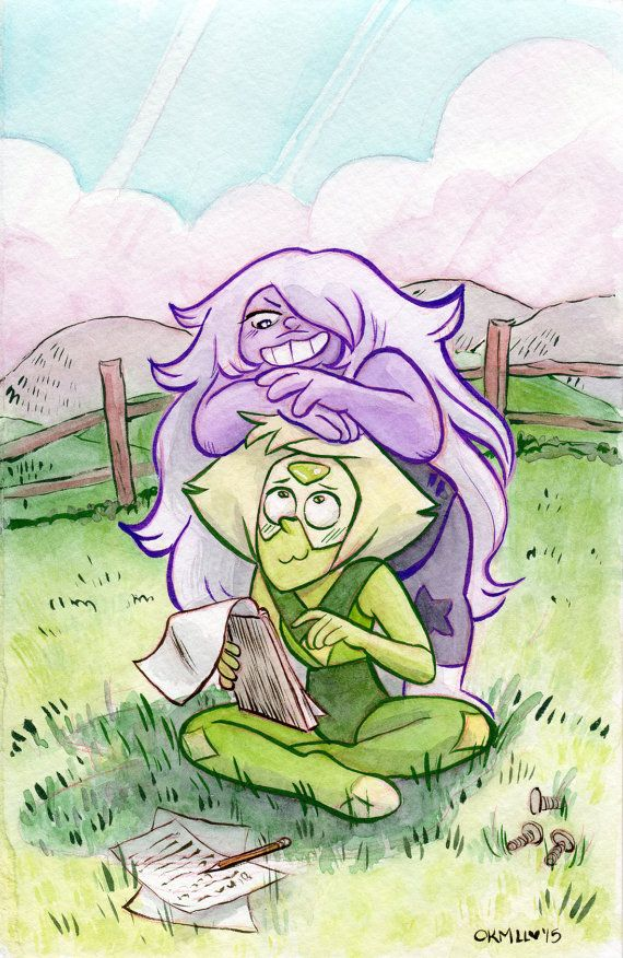 Defective Nerd: Steven Universe  Amethyst and Peridot by FromMyHat