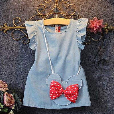 2016 Baby Toddlers Kids Girl Solid Dress Minnie Mouse Sleeveless Bag Ruffles Demin Casual Dresses 1-5Y♦️ SMS - F A S H I O N  http://www.sms.hr/products/2016-baby-toddlers-kids-girl-solid-dress-minnie-mouse-sleeveless-bag-ruffles-demin-casual-dresses-1-5y/ US $4.54