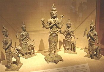 In Hinduism the Guardians of the four cardinal directions are called the Lokapālas (लोकपाल). They are:  Kubera (north)  Yama (south)  Indra (east)  Varuṇa (west)  Images of the Lokapālas are usually placed in pairs at the entrance to tombs. As Guardians they can call upon the spirits of the next world to help them protect the tomb if necessary.        Brahma, Lord of the Zenith (center) with (from left) Varuna, Kubera, Yama and Indra.