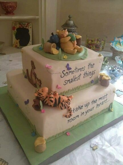 Classic Winnie the pooh baby shower cake!