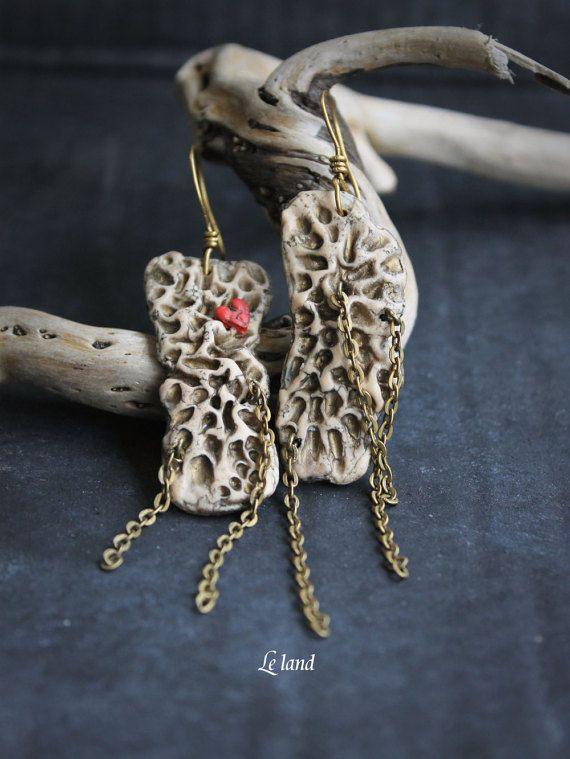 Rustic heart earrings unique gift for girlfriend by Lelandjewelry