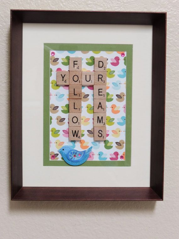 Scrabble+Art+'Follow+your+dreams'+frame.+by+SpellingBeeArt+on+Etsy,+$33.00