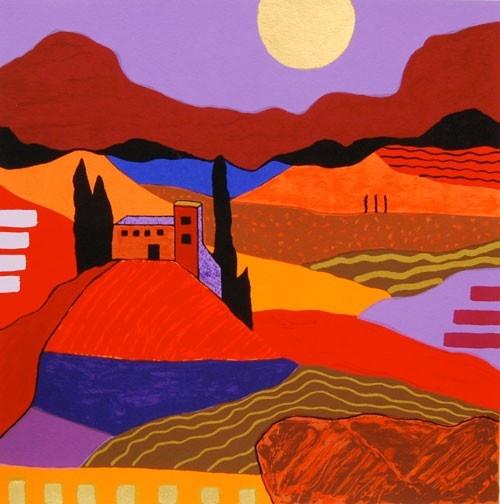 Ronald Boonacker - Lombardije I - zeefdruk in paars en rood