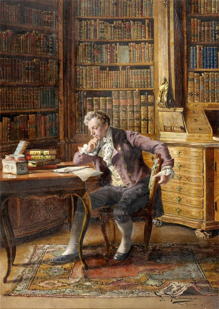 Johann Hamza - An Elegantly Dressed Gentleman, seated beside a table in a library reading.