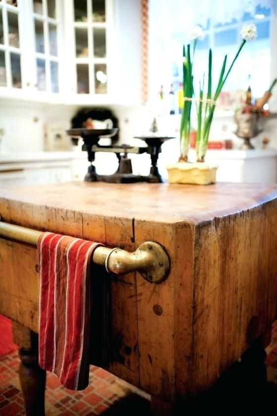 Authentic Farmhouse Kitchen A Br Towel Bar Mounted On Vintage Butcher Block Island Antique White With Top