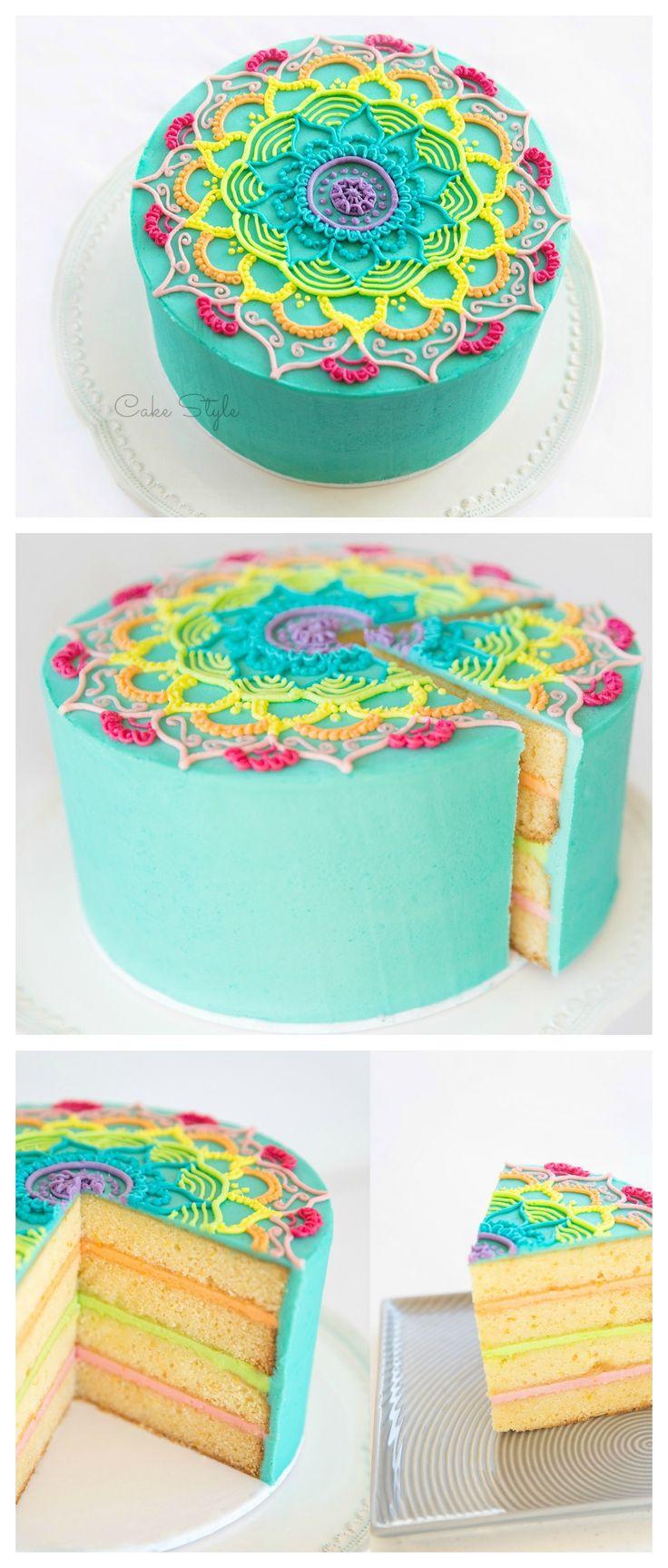 Mandala Cake. How amazing!! Video tutorial ~ https://youtu.be/cUuSL94f8jo