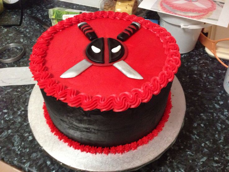 Dead Pool cake for a friend's son. All buttercream icing.