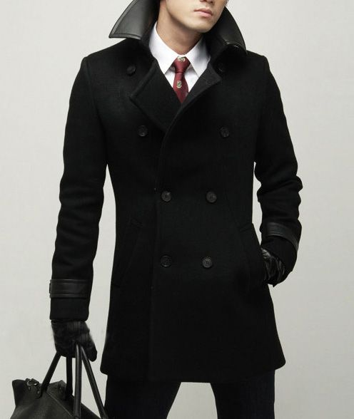 Elegant Turn-down Collar PU Leather Splicing Double Breasted Woolen Pea Coat For Men