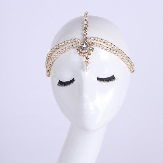 Pearl Kundan Head Chain Wedding Bride Bridal Grecian Bohemian Boho Bollywood Hair Jewelry Silver Gold Head Jewel