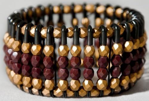 """adrienne"" black safety pin bracelet w/carnelian & matte gold czech glass beads"