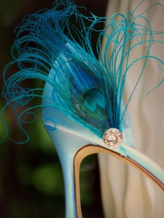 Something Blue Shoe Clips. Turquoise Peacock & Rhinestone Big Day Stylish Elegant Couture Statement Stunning Boudoir Bride Bridal Bridesmaid. $37.50, via Etsy.