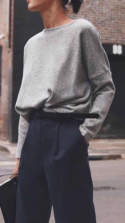 Dark blue pants | gray sweater