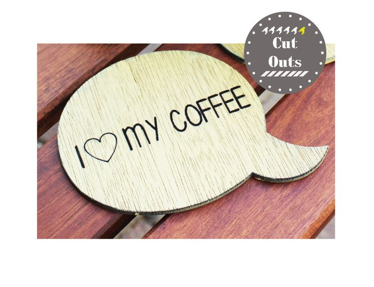 I love my coffee. Set of 4 quirky, yellow coasters by CutOutsProductDesign on Etsy