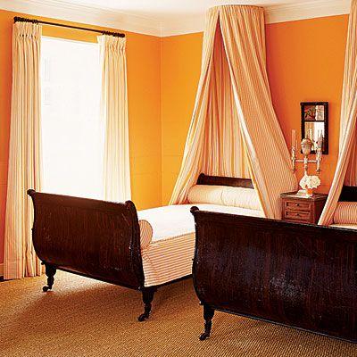 Surprising Orange Gray Bedrooms Decorating Idea