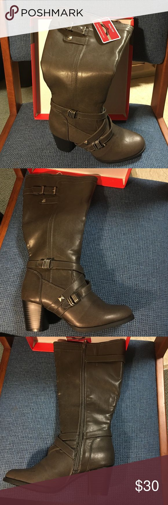 Rialto Wild Calf Claudette Ash Boots 7.5M This is brand new pair of Rialto Claudette boots size 7.5. Comes with tag and original box. Rialto Shoes Heeled Boots