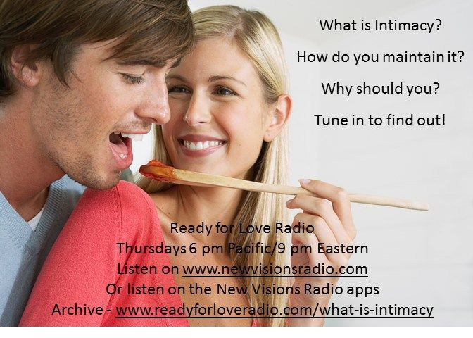 Tonight let's share a story about intimacy at 6 pm PT/9 pm ET on www.newvisionsradio.com - Nikki Leigh, Love and Relationship Coach, invites her friend Ginger Simpson to join her for a talk abouthow tounderstand and maintain intimacy. Topics include: what is intimacy what intimacy is n…