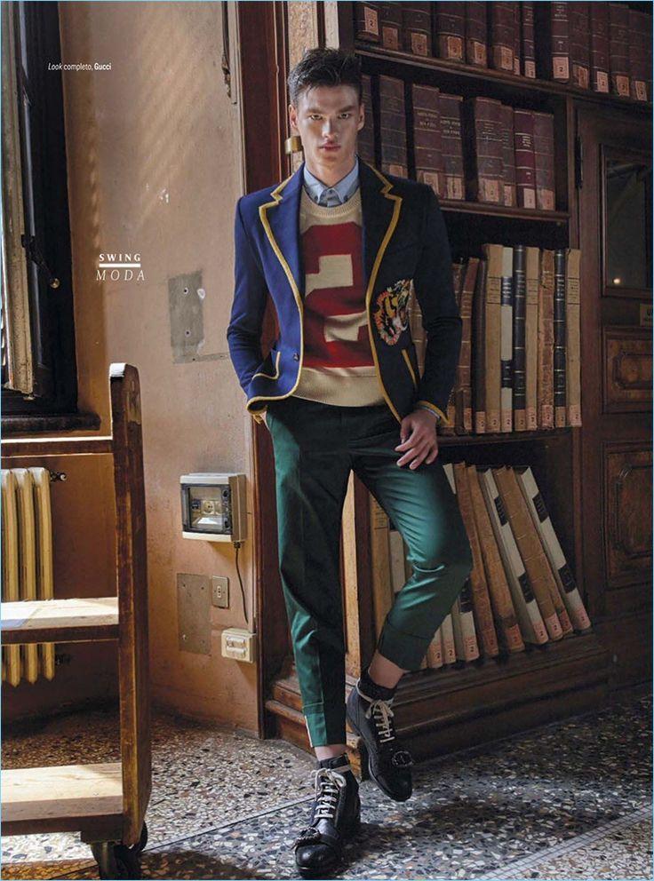Filip Hrivnak Embraces Gucci's Prep Style for GQ México
