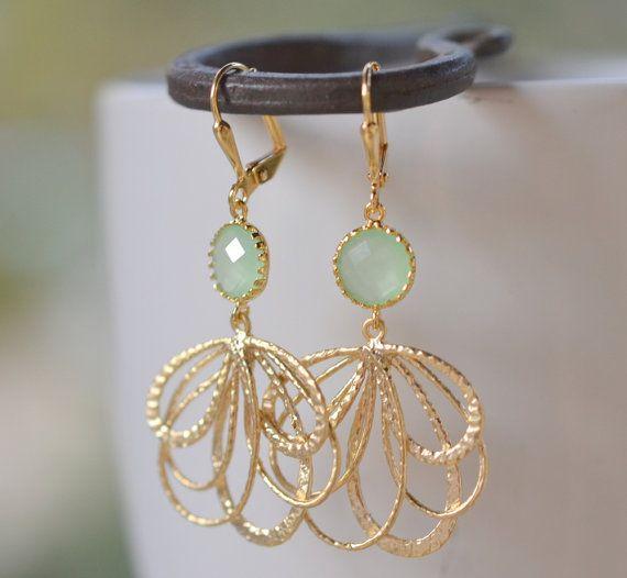 Mint Dangle Earrings in Gold. Mint Multiple Teardrop Gold Drop Earrings.  Mint Jewelry. Bridesmaid Earrings. Gift for Her. Christmas Gift.