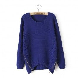 Blue Long Sleeve Side Zipper Cable Knit Sweater #celeb16 #sweater
