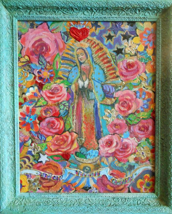 Our Lady of Guadalupe 16 x 20 Highly Textured by AtelierBaba