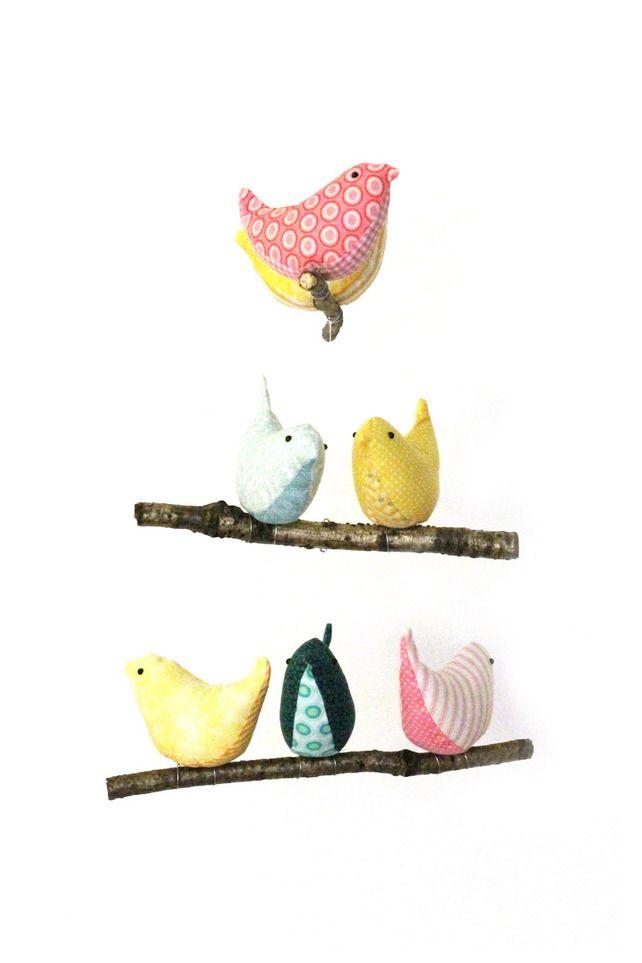 Nursery Bird Mobile - Baby Cot Decor - Handmade Birds in Teal Yellow Pink Fabric £50.00