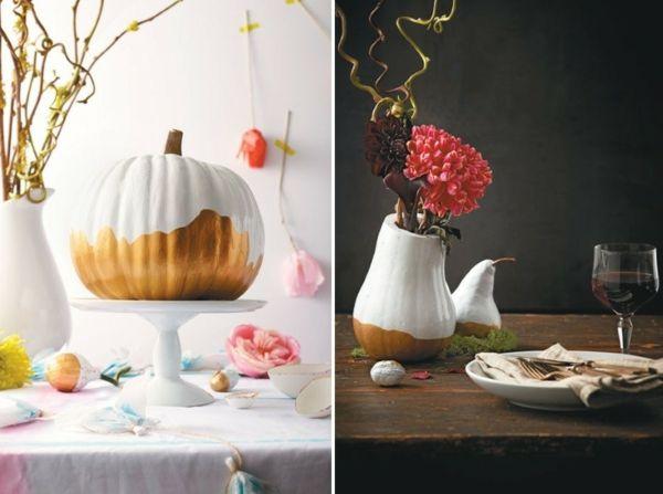 Kürbis mit Acryfarbe und goldene Farbe auch als Vase