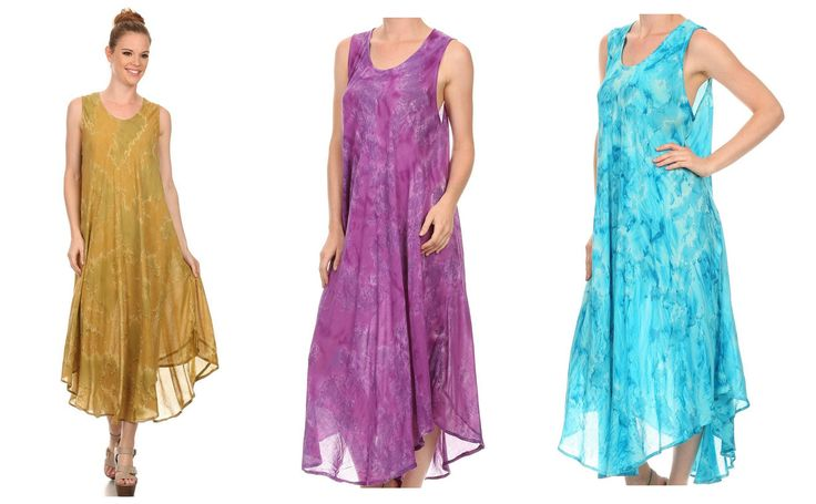 This caftan dress features a plain cut and design with a unique hand dyed tie dye design wash, and a sleeveless tank top style upper bodice. It's long and tall, and opaque to semi opaque. The fabric is very light, soft, and breathable so it's perfect for warmer weather! Wear alone or over beachwear for summer days at the beach! #style #outfit #glam #shopping #dress #fall #spring