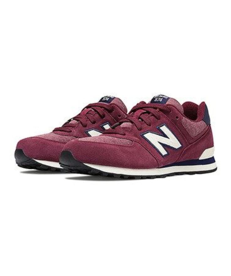 New Balance Maroon & White Pennant Pack 574 Suede Sneaker