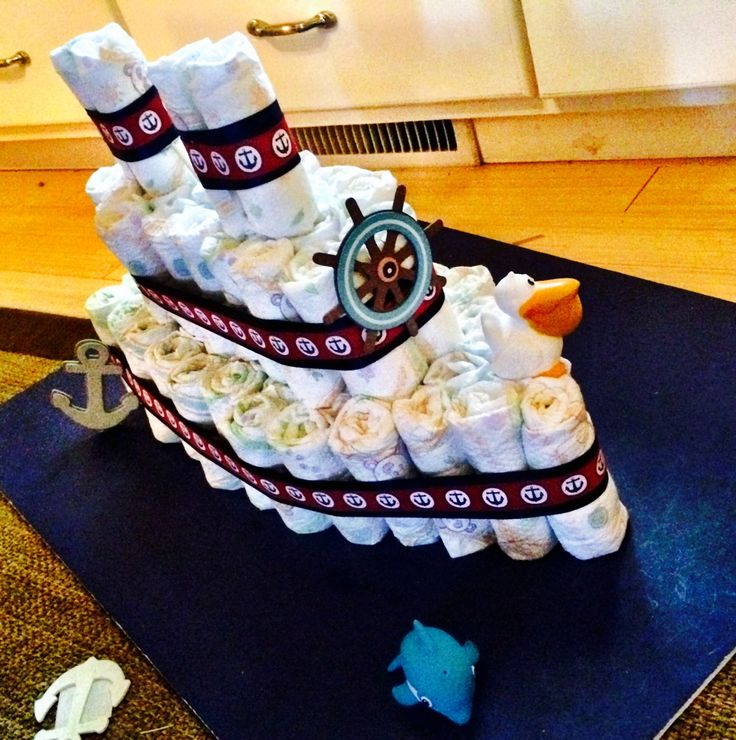 Nautical baby shower ship diaper cake