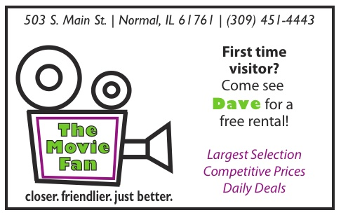 This loyalty card was designed for the Bloomington/Normal area for The Movie Fan for a IMC creative project  [front of card] (all work done on Adobe Illustrator -- 2012).