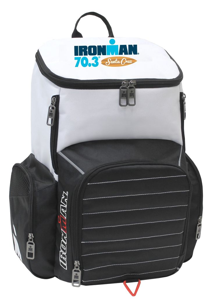 """IRONMAN 70.3 Santa Cruz Event Backpack Product Details: Dimensions: 12""""L x 20""""H x 7""""W High density dobby polyester and 600D polyester with dirt-res..."""