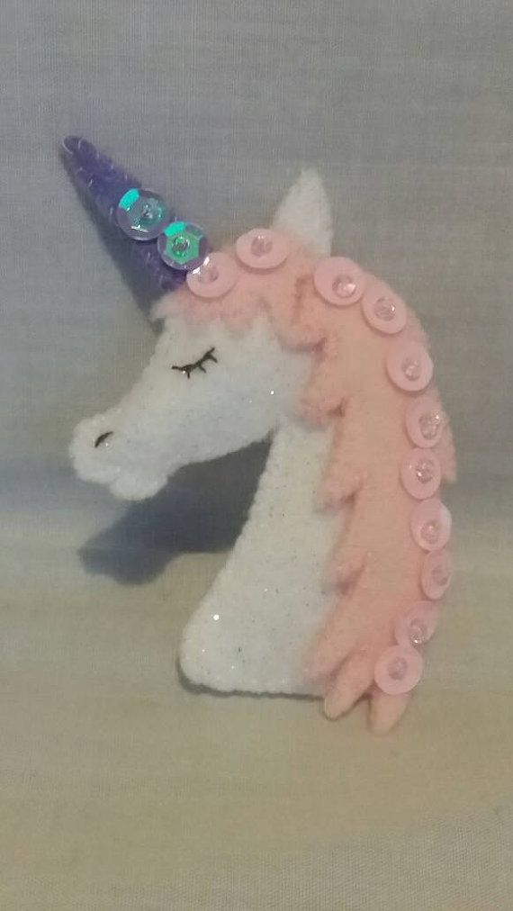 Felt Unicorn Brooch Unicorn Jewellery by CarrotTopsCharacters
