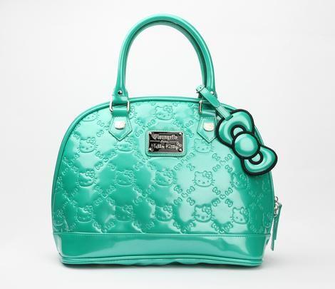 Hello Kitty Embossed Handbag: Emerald