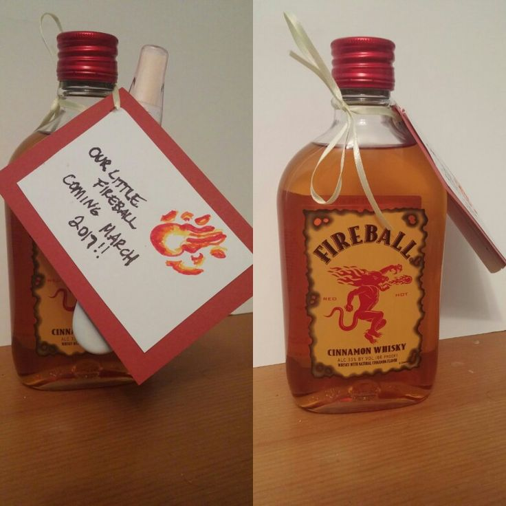 Fun pregnancy announcement for spouse, husband etc fireball whiskey