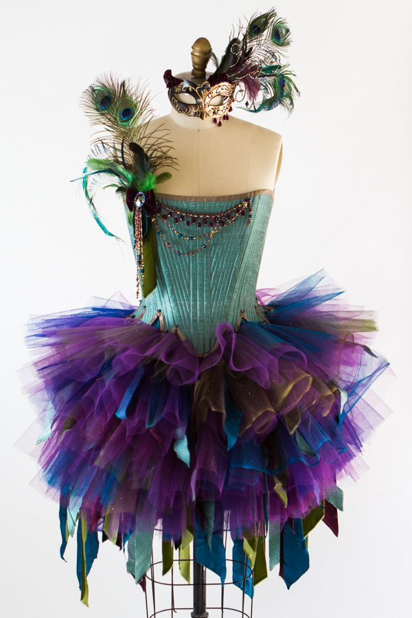 "Adult Fairy Costume- Size S Peacock Masquerade Costume Bust 35"" Waist 27"""