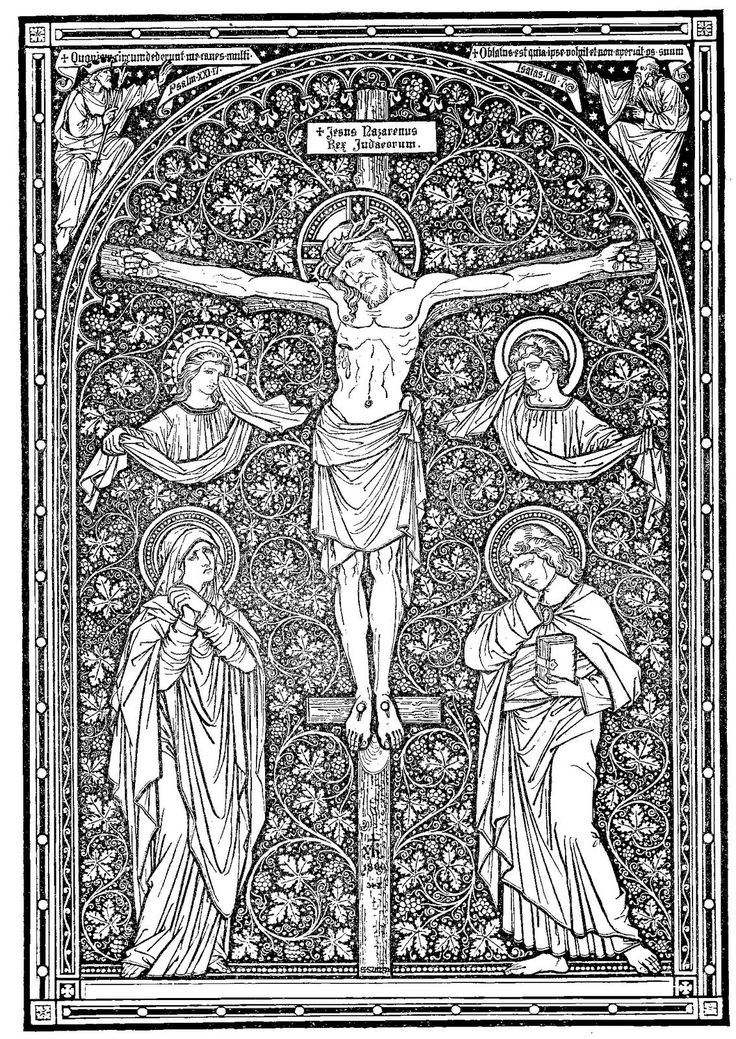 Catholic line art - the floral treatment of the background attract me. See the saints next to Jesus who sink into the flowers.