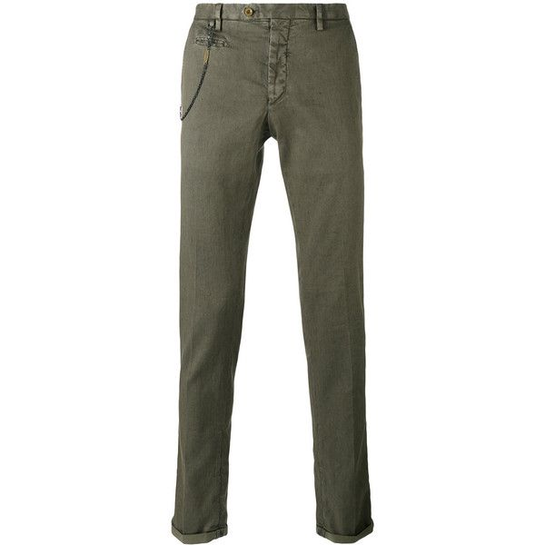Biagio Santaniello skinny trousers (174 CAD) ❤ liked on Polyvore featuring men's fashion, men's clothing, men's pants, men's casual pants, green, mens green pants and mens skinny pants