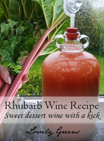 This recipe shows you how to use fresh rhubarb to make homemade sweet dessert wine with a kick #wine