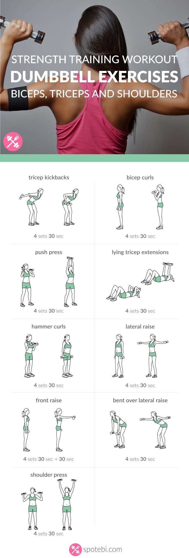 Get rid of arm fat and tone sleek muscles with the help of these dumbbell exercises. Sculpt, tone and firm your biceps, triceps and shoulders in no time! http://www.spotebi.com/workout-routines/upper-body-dumbbell-exercises-biceps-triceps-shoulders-workout/ #weightlossmotivation