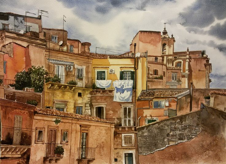 Sicilya / #Sicily by Yasemin Arkun - KÜSB / #WaterColor on Paper - 48x36  #gallerymak #suluboya #sanat #resim #gununkaresi #istanbulmodern #italya #sicilya #italy #art #artwork #watercolor #sketch #drawing #contemporaryart #fineart