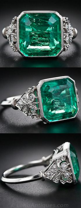 5.31 Carat Emerald and Diamond Ring in a platinum setting -Edwardian/early-Art Deco, circa 1920.
