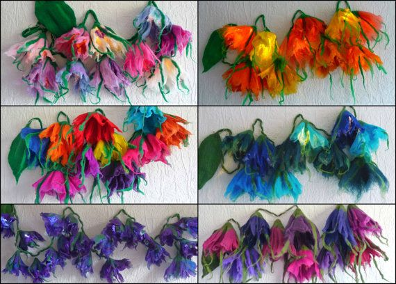 handmade felted LED flower fairy lights, unique and one of a kind by - MADE TO ORDER   ♥FELTED ART TO WEAR♥ These felted fairy lights .
