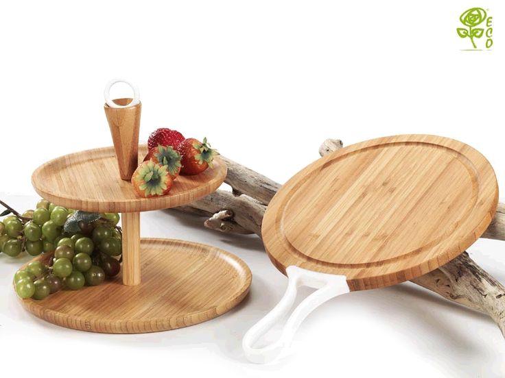 Alzata a due piani e tagliere in legno collezione eco by for Piccoli piani eco compatibili