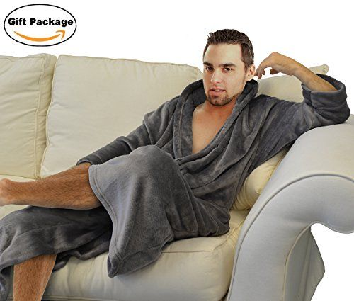 Napa+Men's+Super+Soft+Warm+Microfiber+Fleece+Plush+Bathrobe+Lightweight+Spa+Shawl+Robe+Sleepwear+Grey