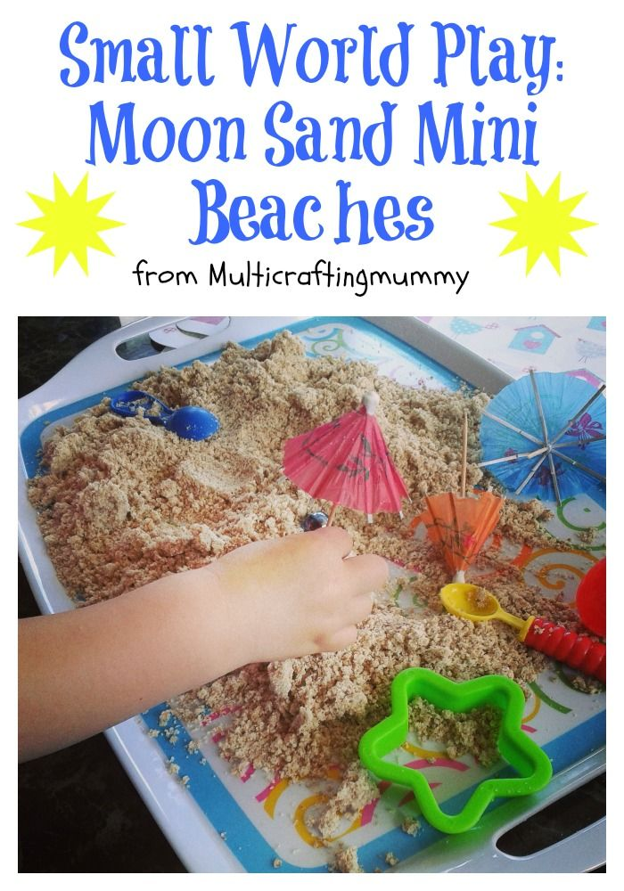 Do your kids love to play at the beach? Then let us show you how to recreate it at home using moon sand to create a small world beach play activity that won't get in your sandwiches. Ideal for toddlers, preschoolers and older children.