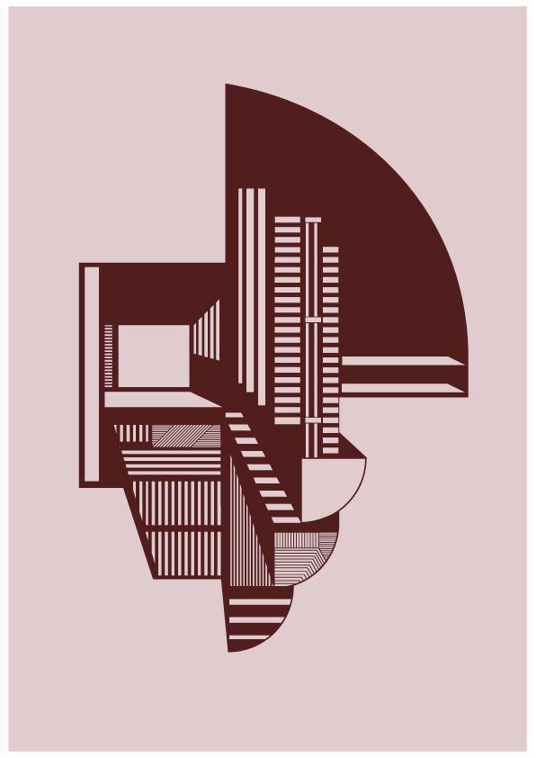 Kristina Dam Illustration – Abstraction A4 – Pink - Tinga Tango #kristinadamstudio#kristinadam#grafisk#arkitektonisk