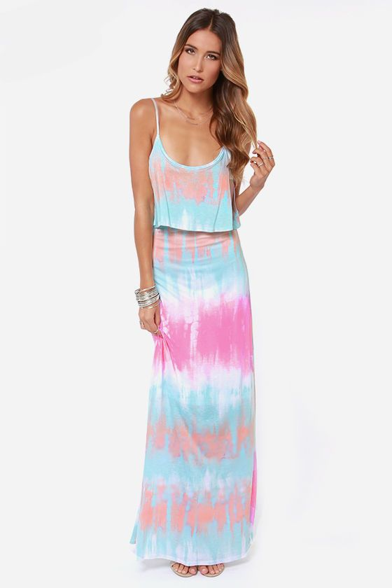 Never Say Tie-Dye Blue Maxi Dress, multi-color maxi dress http://www.shopstyle.com/action/loadRetailerProductPage?id=453975061&pid=uid7609-25959603-56